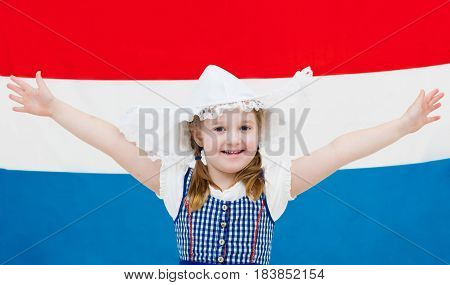 Dutch Child With Flag Of Netherlands