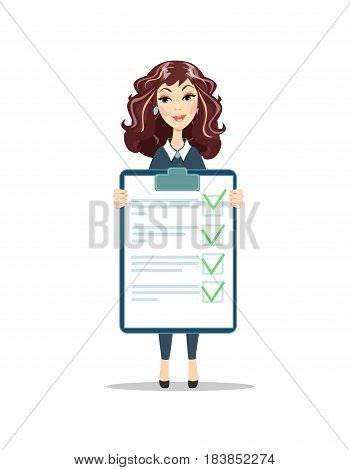 Businesswoman with a clipboard with green tick . Flat design clip board and check marks. Woman with checklist. Stock vector illustration