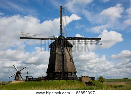 Dutch windmills at Schermerhorn in the Netherlands