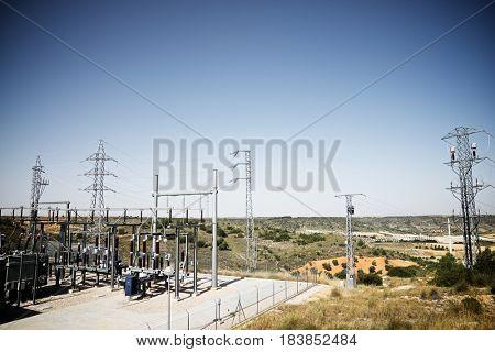 Closeup of an electrical substation, Toledo Province, Castilla La Mancha, Spain.