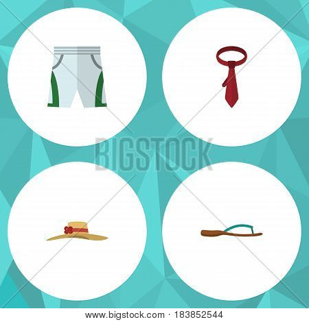 Flat Clothes Set Of Trunks Cloth, Elegant Headgear, Cravat And Other Vector Objects. Also Includes Cravat, Shorts, Hat Elements.
