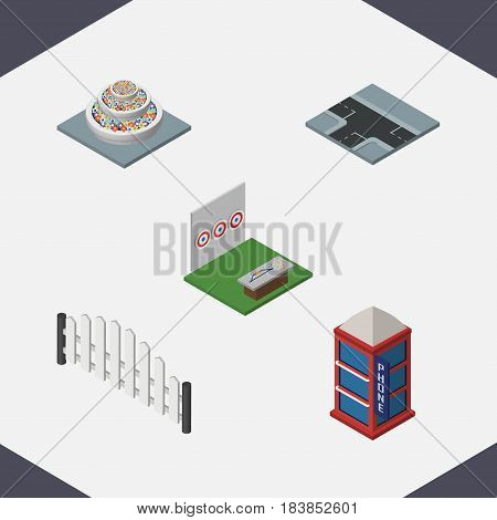 Isometric Urban Set Of Plants, Barricade, Crossroad And Other Vector Objects. Also Includes Phone, Decoration, Telephone Elements.