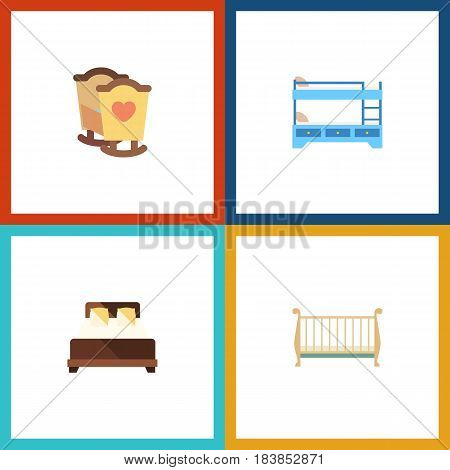 Flat Bed Set Of Mattress, Cot, Crib And Other Vector Objects. Also Includes Mattress, Bunk, Hostel Elements.