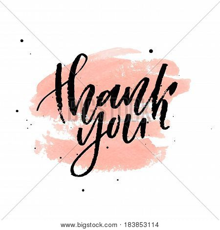 Thank you on peach watercolor stain isolated on white background. Vector illustration