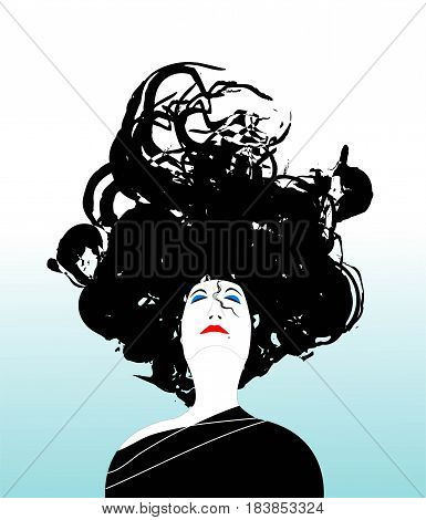 vector face of woman on gradient background