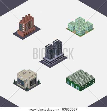 Isometric Building Set Of Industry, Tower, Warehouse And Other Vector Objects. Also Includes Factory, Depot, Warehouse Elements.