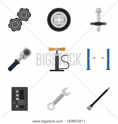 Flat Workshop Set Of Belt, Spanner, Automatic Transmission And Other Vector Objects. Also Includes Carrying, Jack, Coupler Elements.