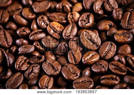 roasted coffee beans background. the  brown texture