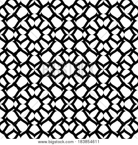 Vector seamless pattern, monochrome ornamental texture, oriental style. Black & white abstract mosaic background. Stylish geometric pattern. Design for prints, fabric, textile, decor, furniture, web