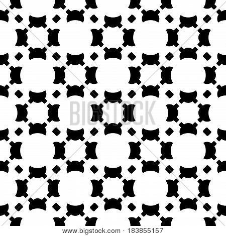Vector monochrome seamless texture, black & white geometric pattern with smooth figures, circles, rounded squares. Diagonal lattice, repeat tiles. Abstract endless background. Design for print, decor