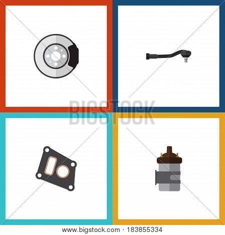 Flat Parts Set Of Absorber, Metal, Gasket And Other Vector Objects. Also Includes Car, Engine, Metal Elements.