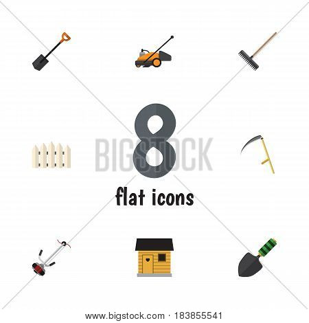 Flat Garden Set Of Wooden Barrier, Harrow, Spade And Other Vector Objects. Also Includes Fence, Rake, Scythe Elements.
