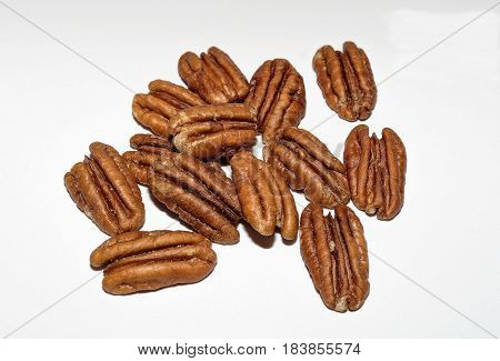 Pile Of Pecans On A White Background