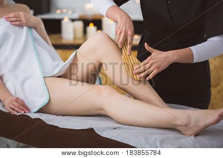 Woman Getting Firming Plant Brush Treatment