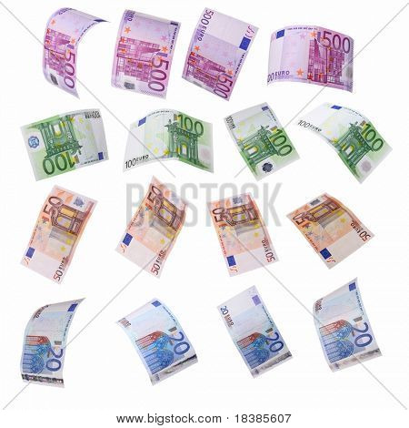 euro notes isolated on white - clipping path