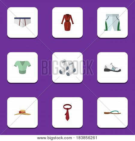 Flat Dress Set Of Clothes, Elegant Headgear, Trunks Cloth And Other Vector Objects. Also Includes Socks, Shoes, Shorts Elements.