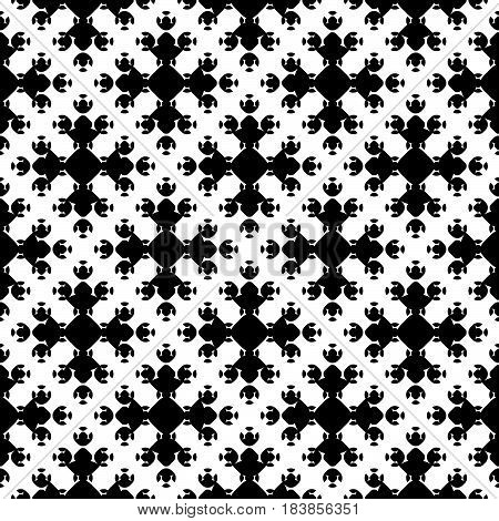 Vector monochrome geometrical texture, black and white seamless pattern in Asian style. Stylized geometric floral figures. Abstract dark endless background. Design for print, decor, textile, fabric