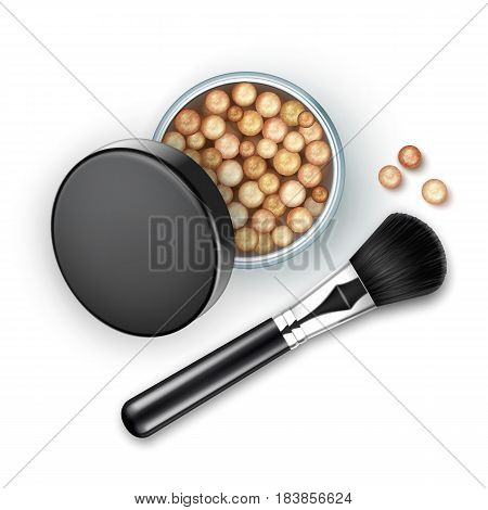 Vector Open Bronzing Pearls box with Black Cap Rouge Balls with Makeup Brush Applicator Isolated on White Background