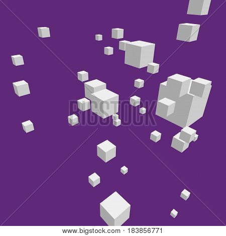 Modern vector illustration with chaotic array of gray cubes. Soaring rectangular 3d shapes on the colorful background. Random geometric composition with square blocks. Element of contemporary design.