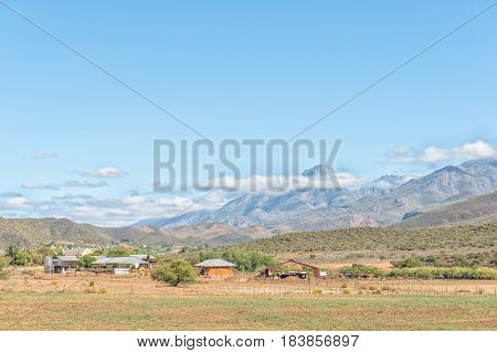 A farm landscape with the Swartberg (black mountain) in the back near Hoeko in the Western Cape Province