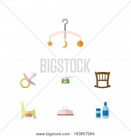 Flat Child Set Of Cream With Lotion, Tissue, Toilet And Other Vector Objects. Also Includes Lotion, Soothers, Toilet Elements.