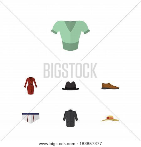 Flat Garment Set Of Uniform, Elegant Headgear, Panama And Other Vector Objects. Also Includes Uniform, Fedora, Underclothes Elements.