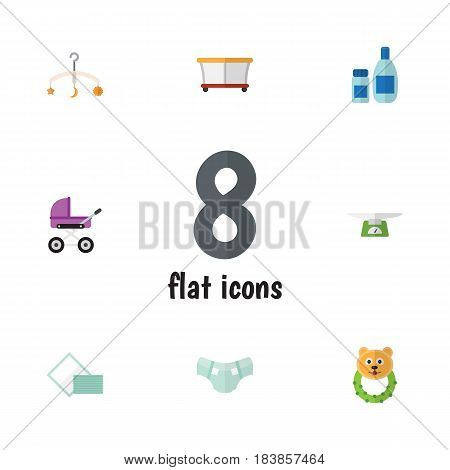 Flat Kid Set Of Rattle, Mobile, Nappy And Other Vector Objects. Also Includes Pampers, Cosmetics, Lotion Elements.