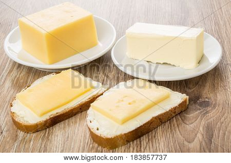 Sandwiches With Butter And Cheese, Pieces Of Cheese And Butter