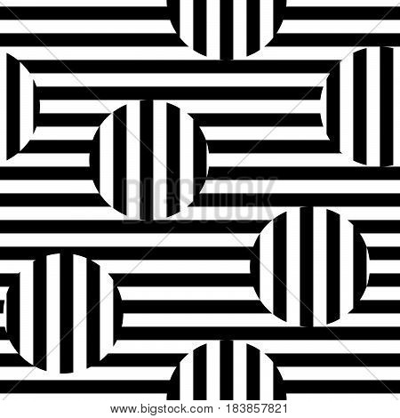 Vector monochrome seamless pattern. Black & white striped texture. Visual illusion effect, horizontal and vertical lines. Trendy abstract design, urban pop style. Element for decor, textile, prints