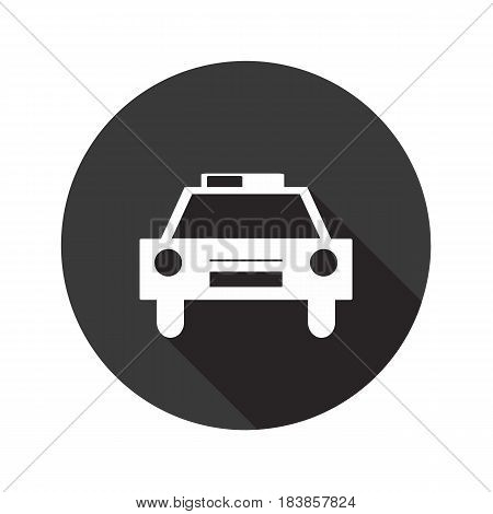 Police car vector flat icon with shadow. Round button