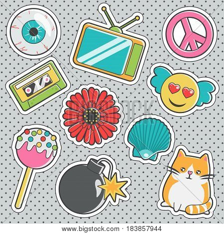 Set of fun trendy vintage sticker fashion badges with eyeball, cute cat, cake pops, love angel emoji, peace sign. Vector illustrations for iron on patches, transfer tottoos, sew on chevron.