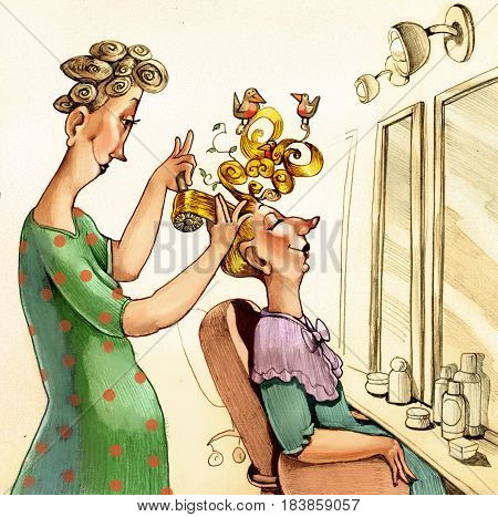 A hairdressing system is the rebellious hair of a lady where birds are perched
