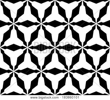 Vector seamless pattern, stylish monochrome geometric texture with triangular lattice, rounded triangles. Simple abstract geometrical background. Design for print, stamping, fabric, textile, furniture