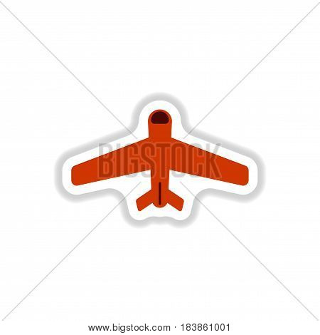 paper sticker on white background airplane travel
