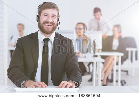 Call Center Man With Team