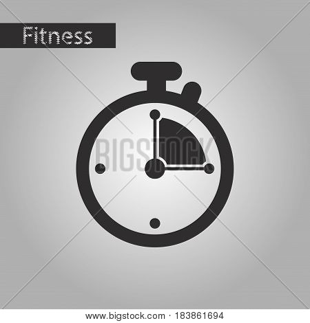 black and white style icon stopwatch fitness