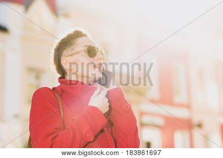 Girl Model With Phone On Blurred Background