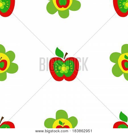 Seamless botanical pattern colorful apples flowers kids style fabric scrapbooking quilting gift wrap embroidery