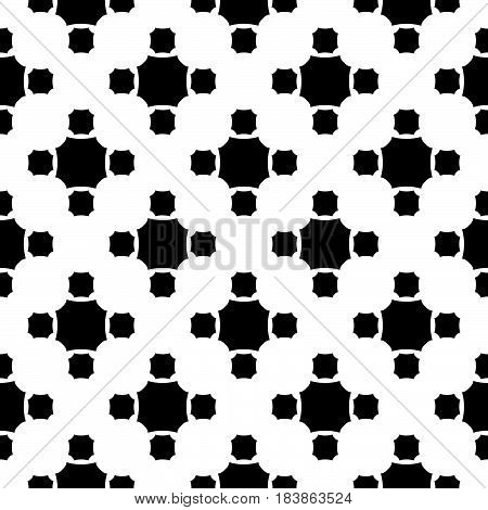 Vector monochrome seamless pattern, simple geometric texture, black figures on white backdrop, rounded octagons. Abstract repeat background for tileable print. Design for decoration, textile, fabric