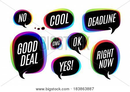 Set of colorful bubbles, icons or cloud talk with text Yes, No, Deadline, Good deal, Ok, Right now. Bubbles different shapes for web, discussion, message and business themes. Vector Illustration