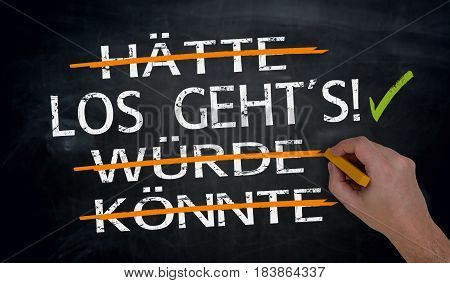 Los Geht's, Haette, Wuerde, Koennte (in German Let's Go, Could, Should; Would) Written By Hand On Bl