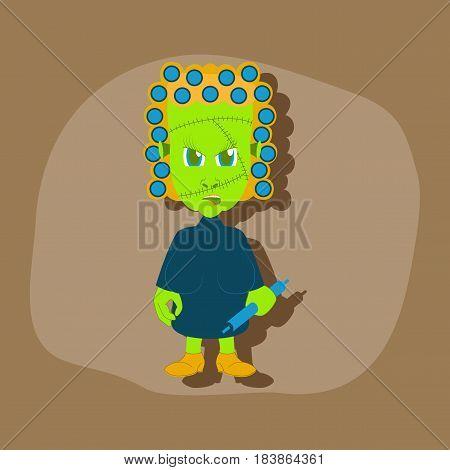 paper sticker on stylish background of zombie woman