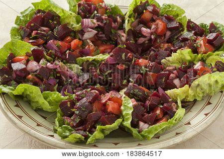 Traditional dish with Moroccan beet salad close up