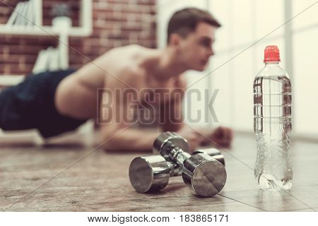 Guy Working Out At Home