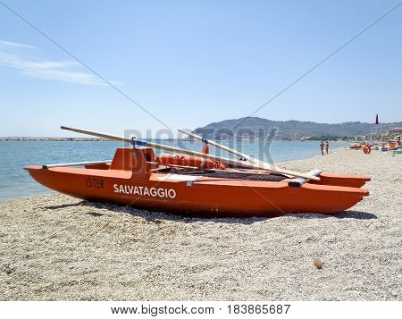Lifeboat Bathers Resting On The Beach