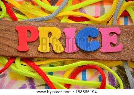 word price on a  abstract colo0rful background