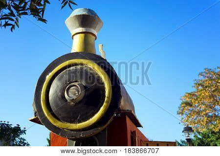 Closeup view of a train engine in Valladolid Mexico