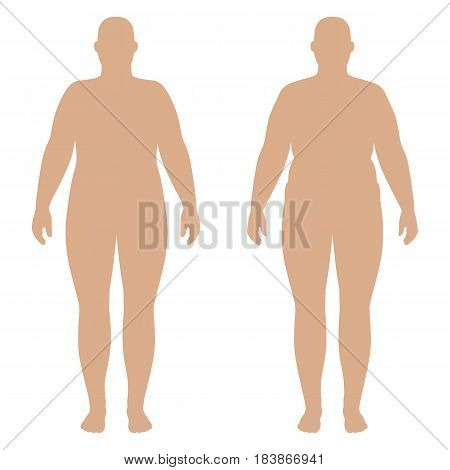 Full length front and back view of a fat standing naked woman outlined isolated on white background. Vector illustration. You can use this image for fashion design and etc.