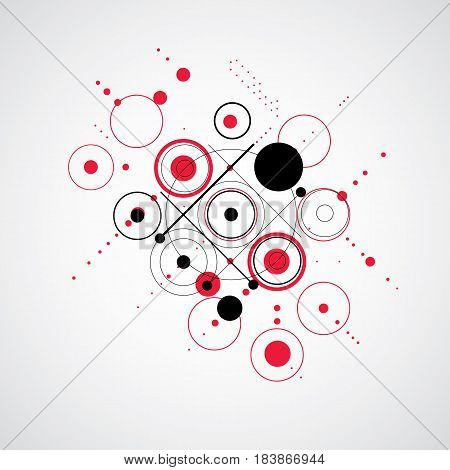 Bauhaus retro art vector red background made using grid and circles. Geometric graphic 1960s illustration can be used as booklet cover design.