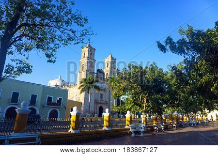 View of the cathedral in downtown Valladolid Mexico